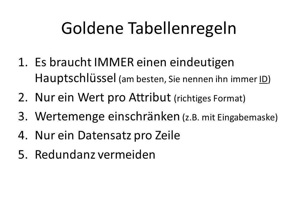 Goldene Tabellenregeln
