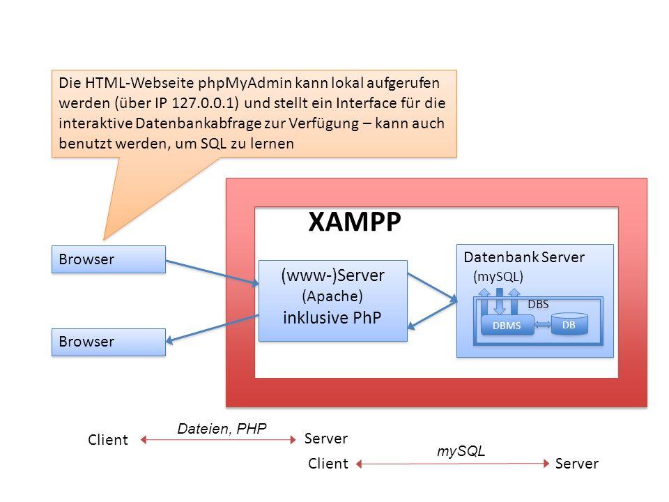 XAMPP (www-)Server inklusive PhP