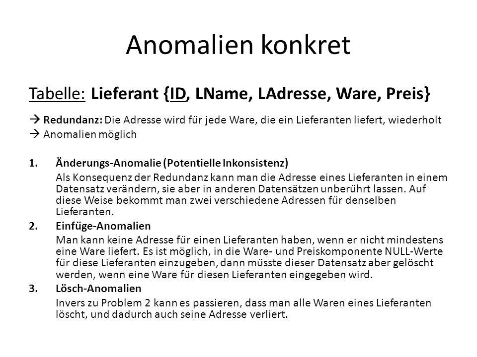 Anomalien konkret Tabelle: Lieferant {ID, LName, LAdresse, Ware, Preis}