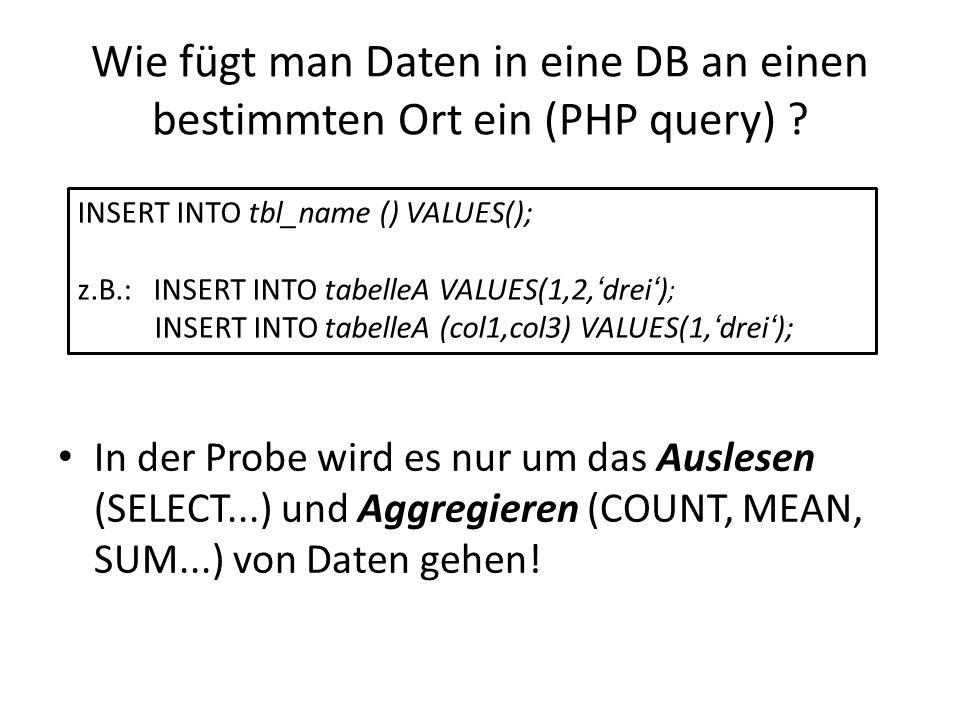 Wie fügt man Daten in eine DB an einen bestimmten Ort ein (PHP query)