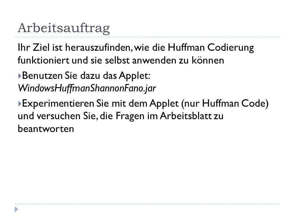 ArbeitsauftragIhr Ziel ist herauszufinden, wie die Huffman Codierung funktioniert und sie selbst anwenden zu können.
