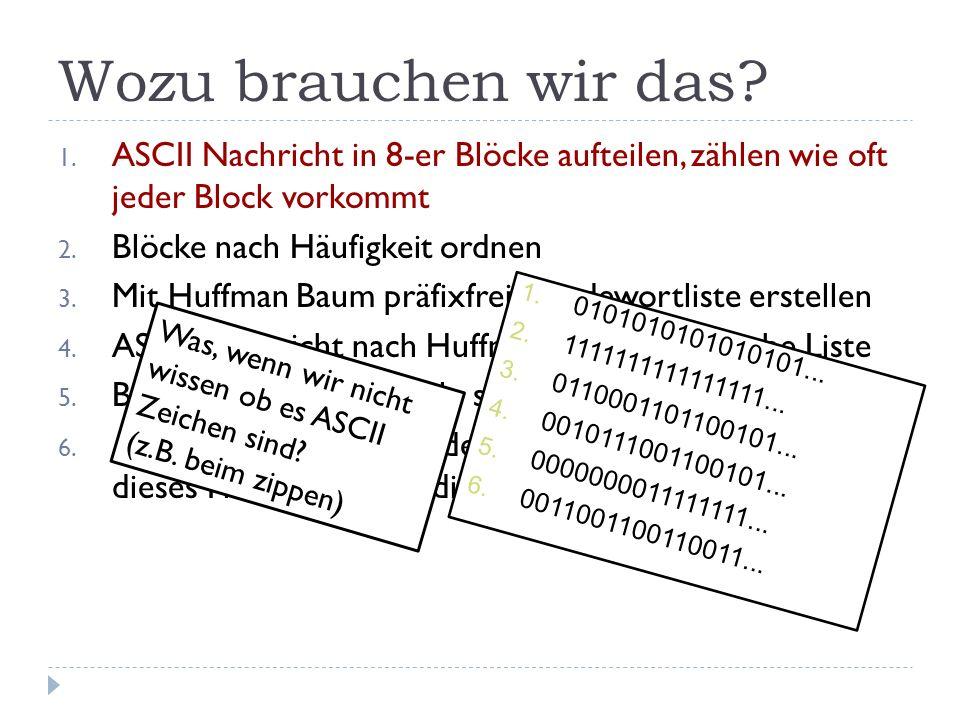 Wozu brauchen wir das ASCII Nachricht in 8-er Blöcke aufteilen, zählen wie oft jeder Block vorkommt.