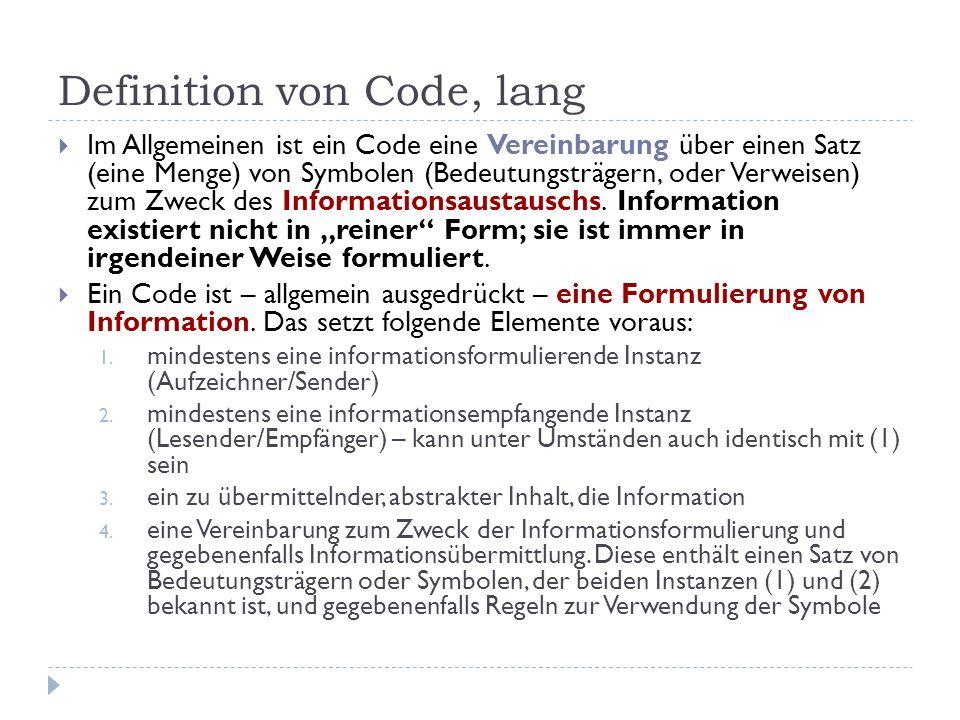 Definition von Code, lang