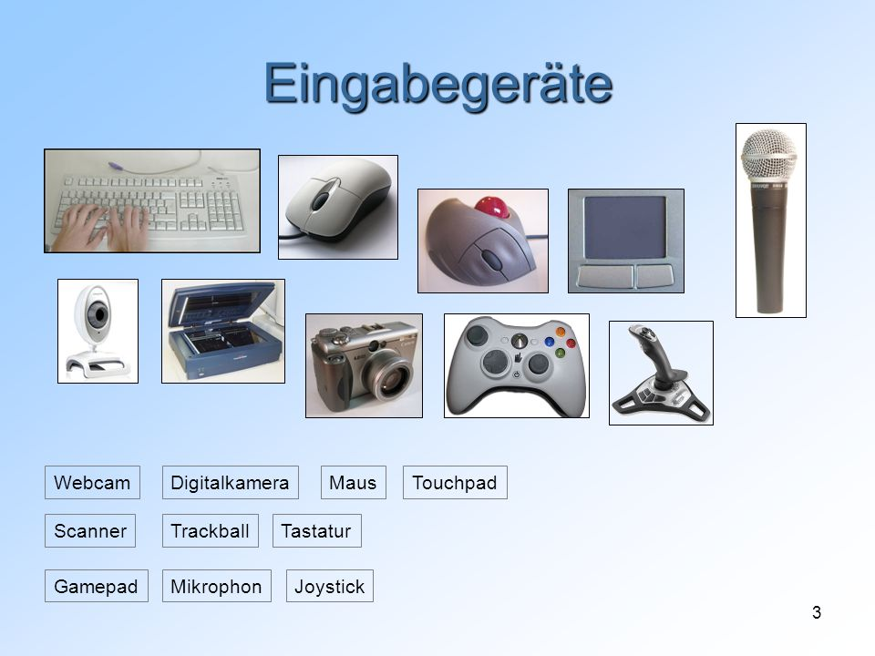 Eingabegeräte Webcam Digitalkamera Maus Touchpad Scanner Trackball