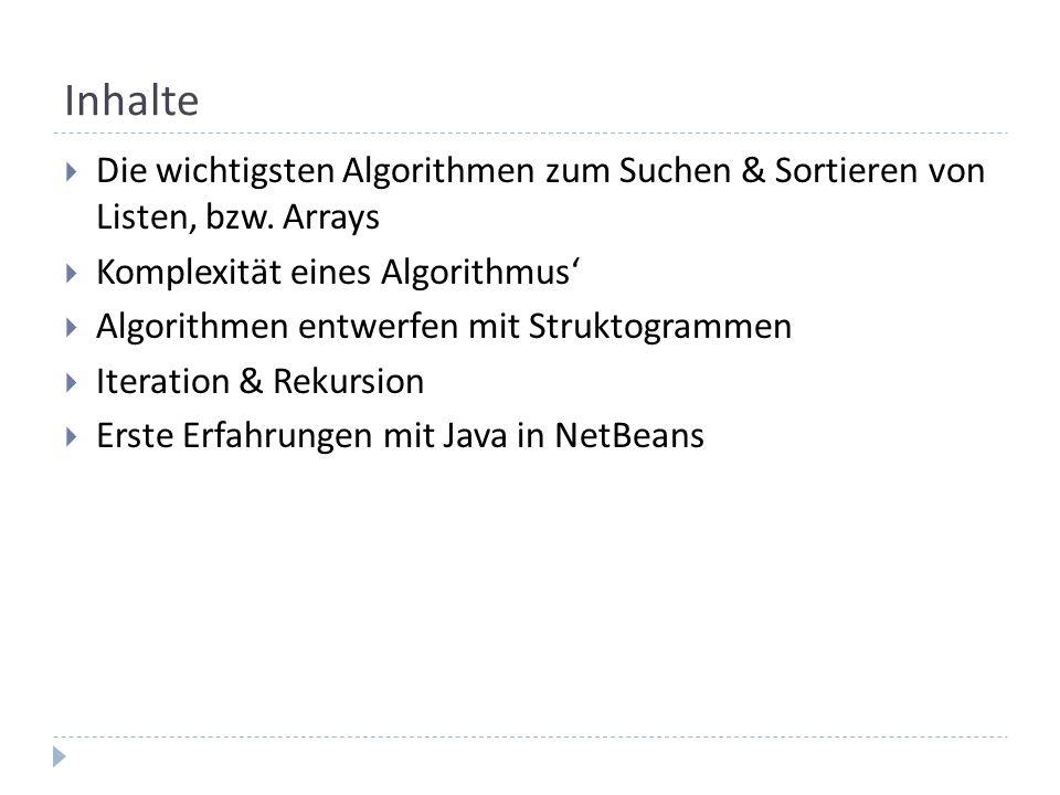 Inhalte Die wichtigsten Algorithmen zum Suchen & Sortieren von Listen, bzw. Arrays. Komplexität eines Algorithmus'