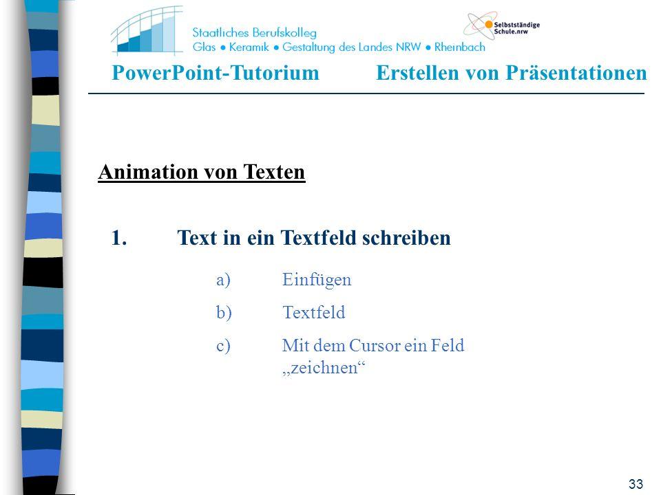 1. Text in ein Textfeld schreiben