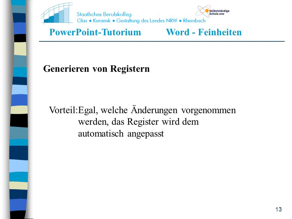 Generieren von Registern