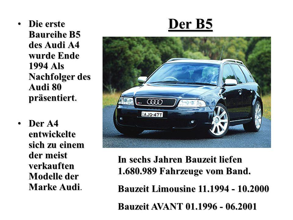 Der B5 Die erste Baureihe B5 des Audi A4 wurde Ende 1994 Als Nachfolger des Audi 80 präsentiert.