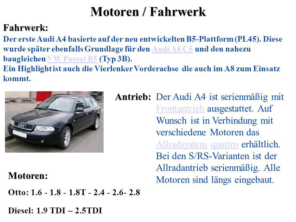 Motoren / Fahrwerk Fahrwerk: Antrieb: