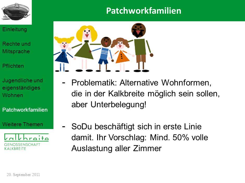 Patchworkfamilien Einleitung. Rechte und Mitsprache. Pflichten. Jugendliche und eigenständiges Wohnen.