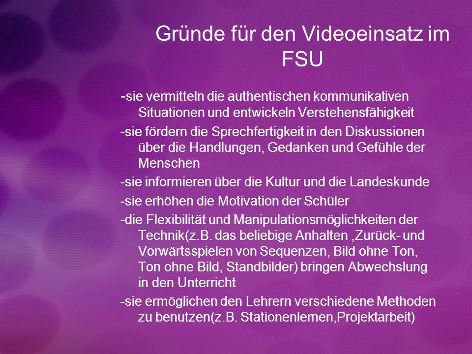 Gründe für den Videoeinsatz im FSU