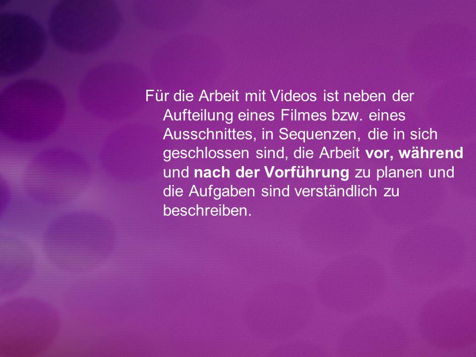 Für die Arbeit mit Videos ist neben der Aufteilung eines Filmes bzw