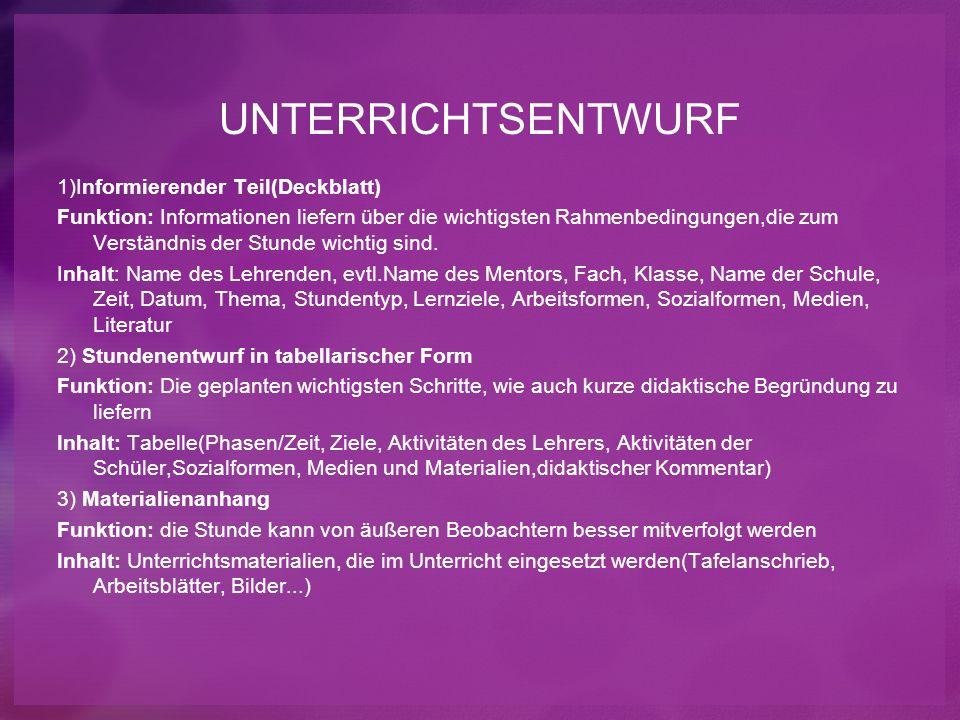 UNTERRICHTSENTWURF 1)Informierender Teil(Deckblatt)