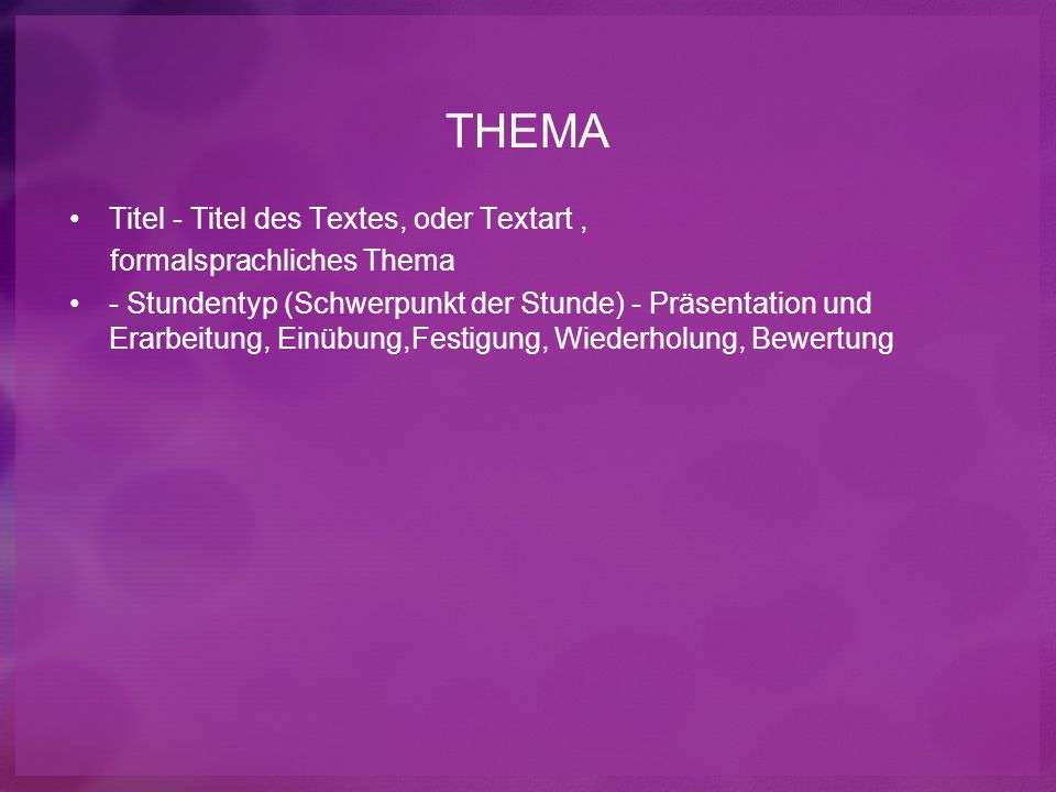 THEMA Titel - Titel des Textes, oder Textart ,