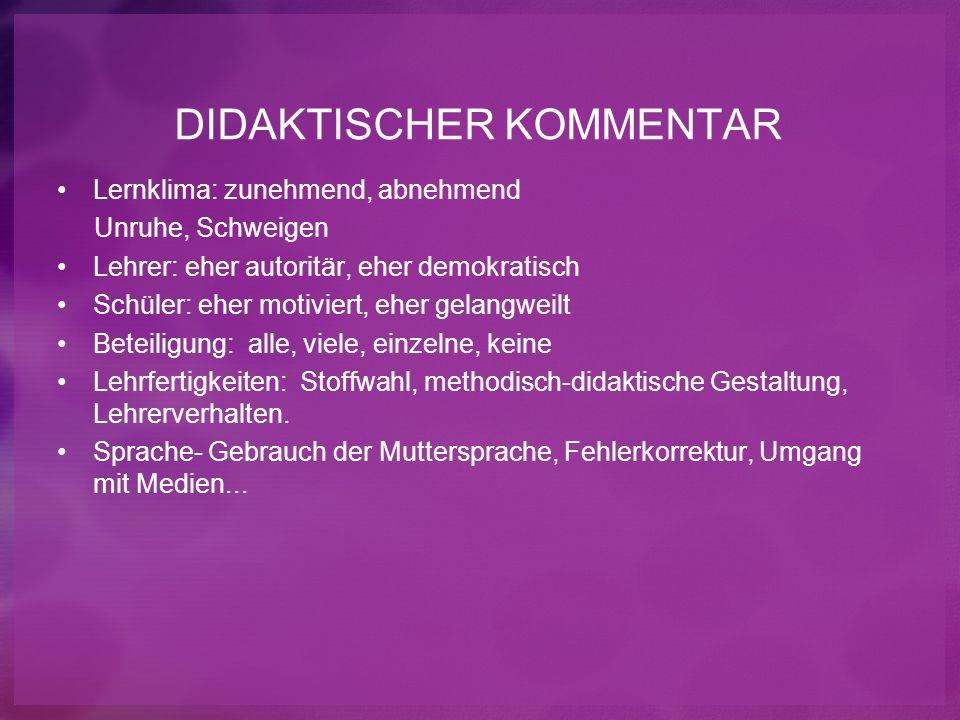 DIDAKTISCHER KOMMENTAR