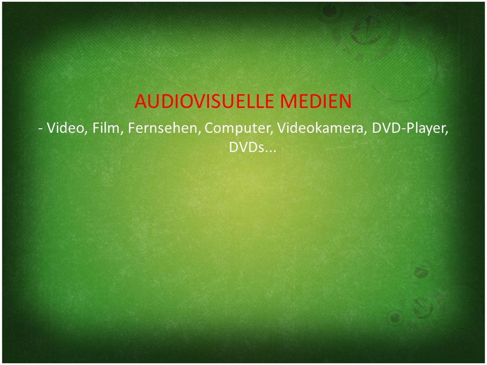 - Video, Film, Fernsehen, Computer, Videokamera, DVD-Player, DVDs...