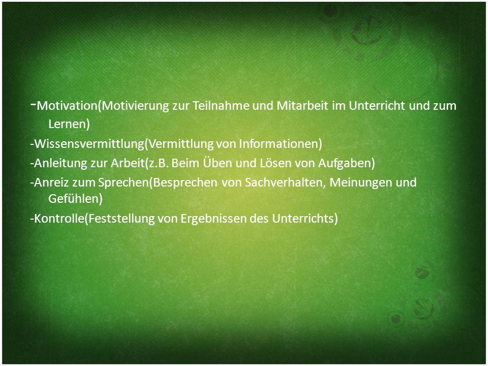 -Motivation(Motivierung zur Teilnahme und Mitarbeit im Unterricht und zum Lernen)
