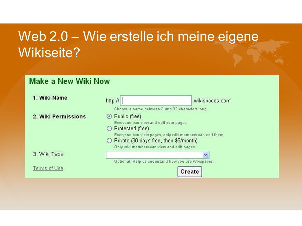Web 2.0 – Wie erstelle ich meine eigene Wikiseite