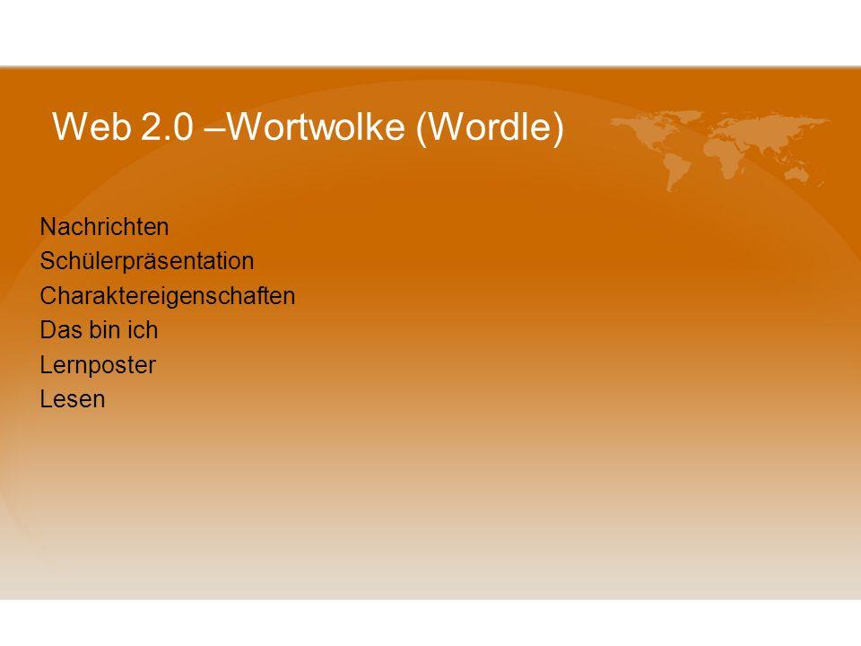 Web 2.0 –Wortwolke (Wordle)