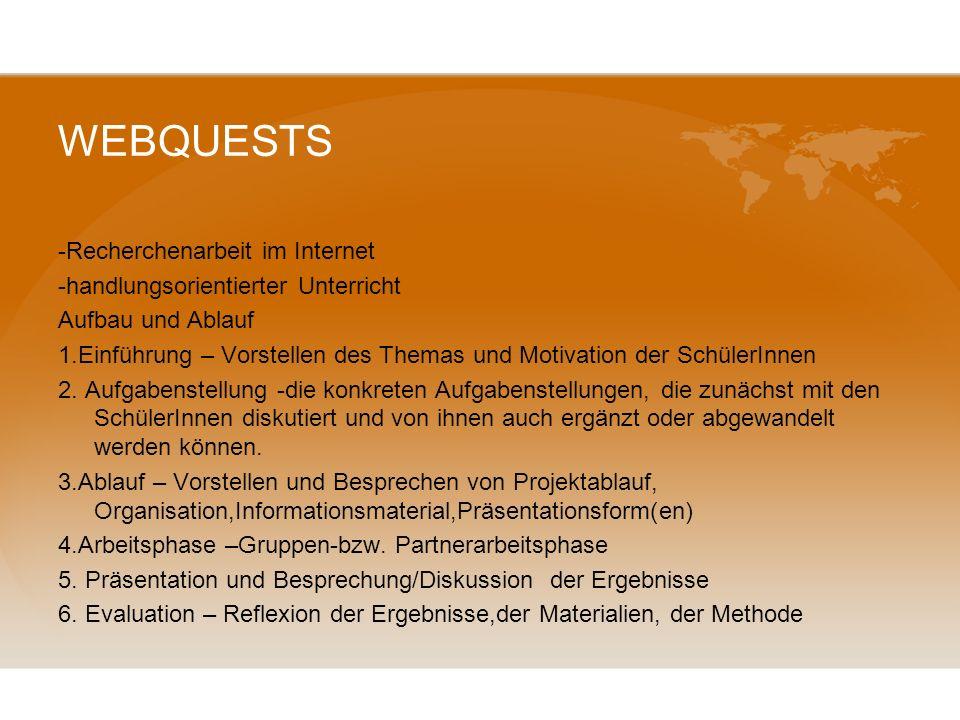 WEBQUESTS -Recherchenarbeit im Internet