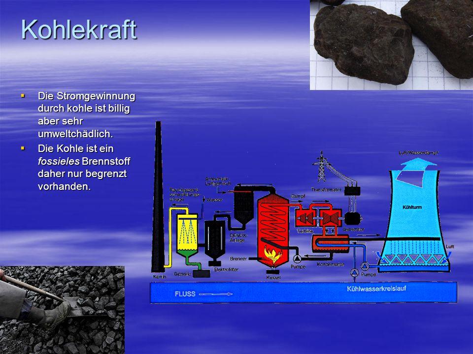 Kohlekraft Die Stromgewinnung durch kohle ist billig aber sehr umweltchädlich.