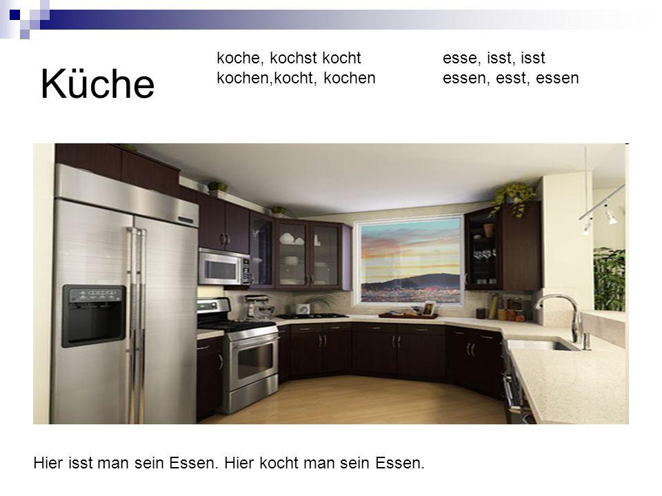 Küche koche, kochst kocht kochen,kocht, kochen esse, isst, isst