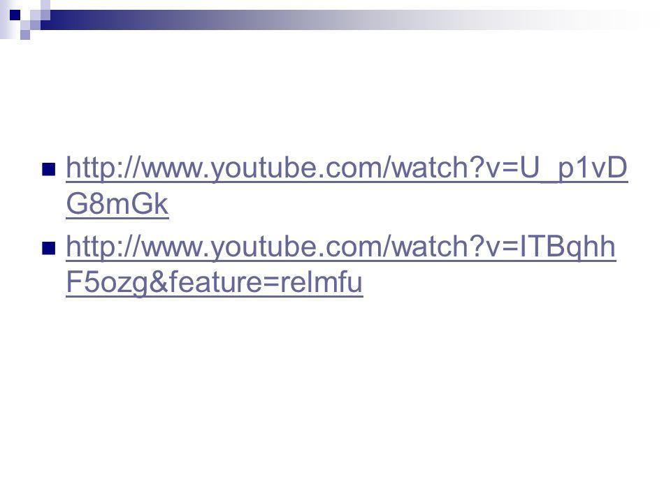 http://www.youtube.com/watch v=U_p1vDG8mGk http://www.youtube.com/watch v=ITBqhhF5ozg&feature=relmfu.