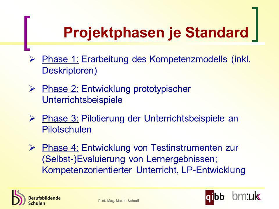Projektphasen je Standard
