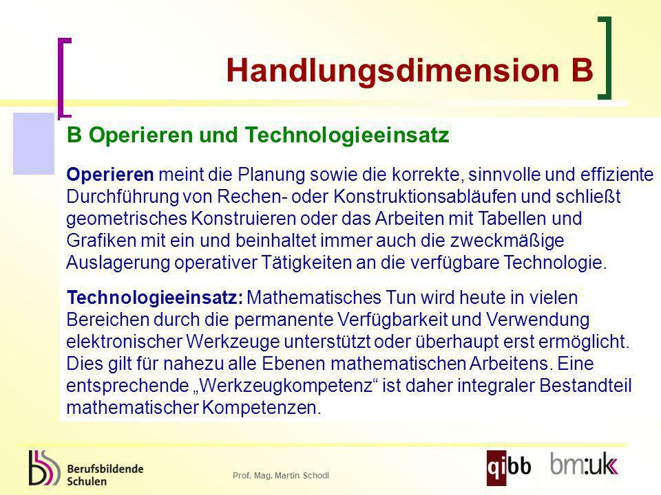 Handlungsdimension B B Operieren und Technologieeinsatz