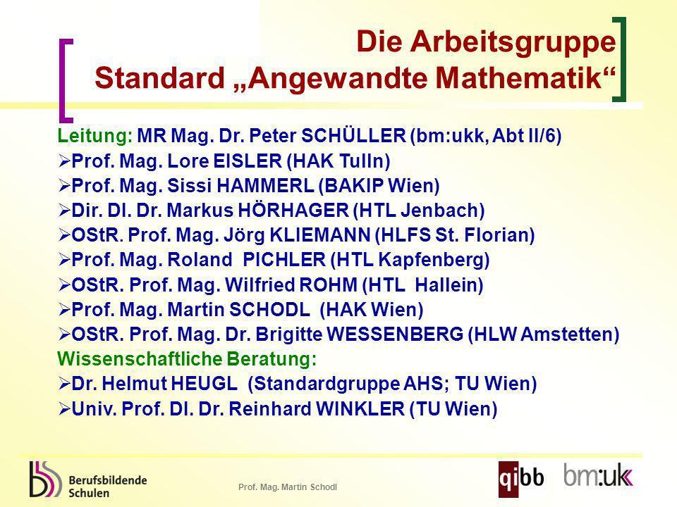 """Die Arbeitsgruppe Standard """"Angewandte Mathematik"""
