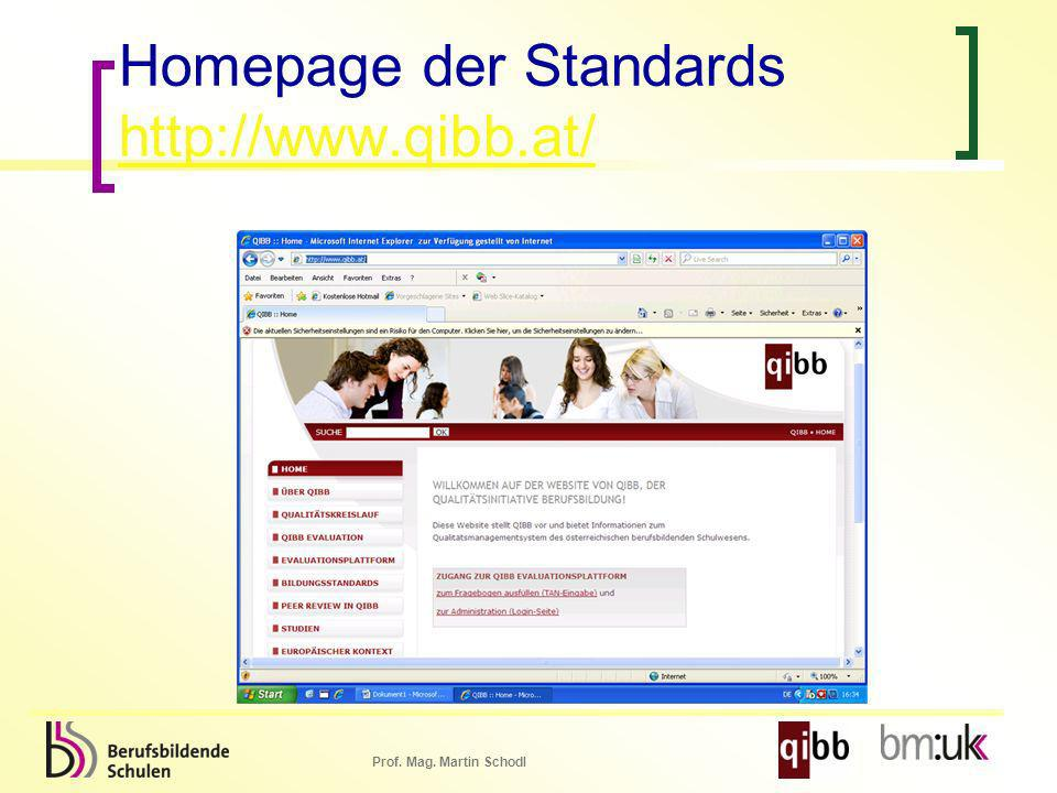 Homepage der Standards http://www.qibb.at/