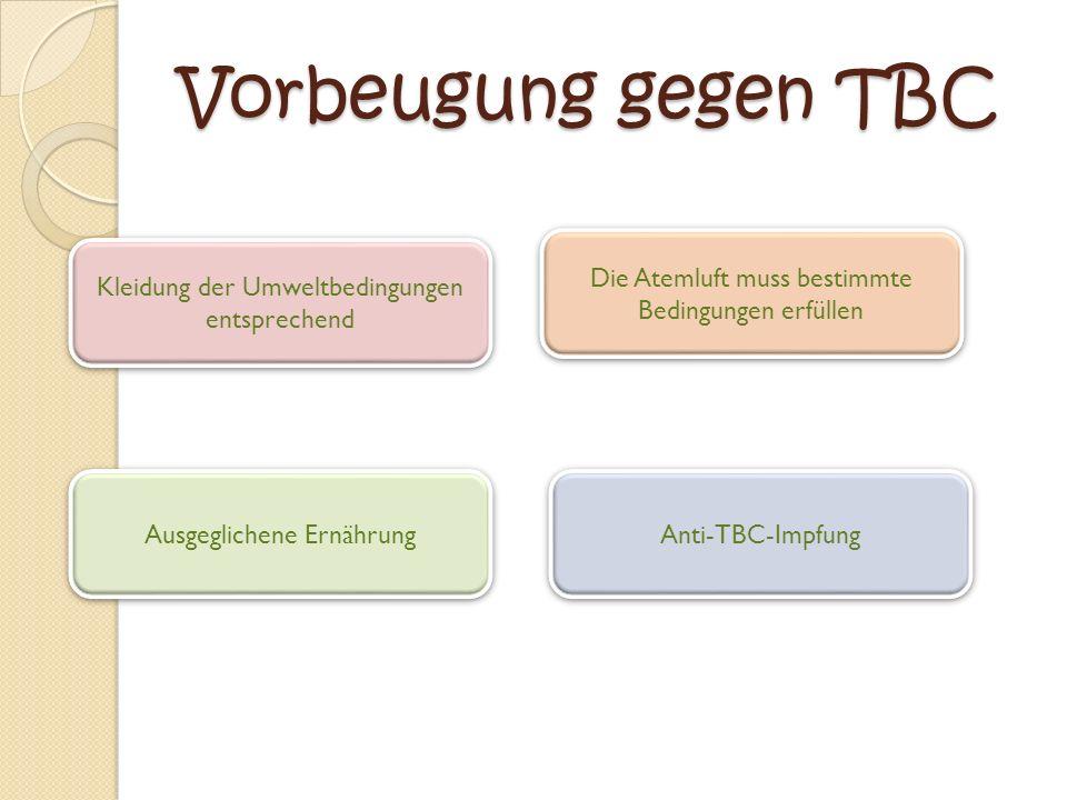 Vorbeugung gegen TBC Die Atemluft muss bestimmte Bedingungen erfüllen
