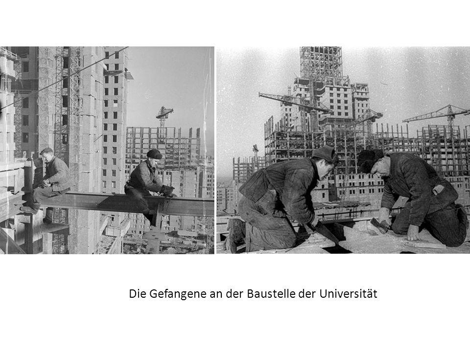 Die Gefangene an der Baustelle der Universität
