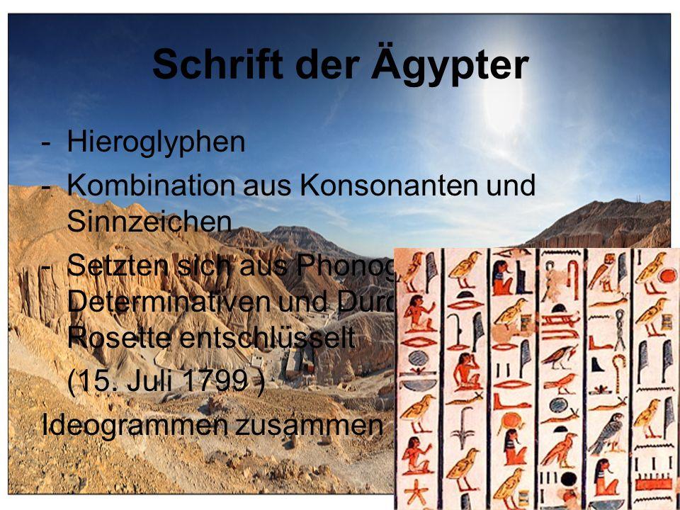 Schrift der Ägypter Hieroglyphen