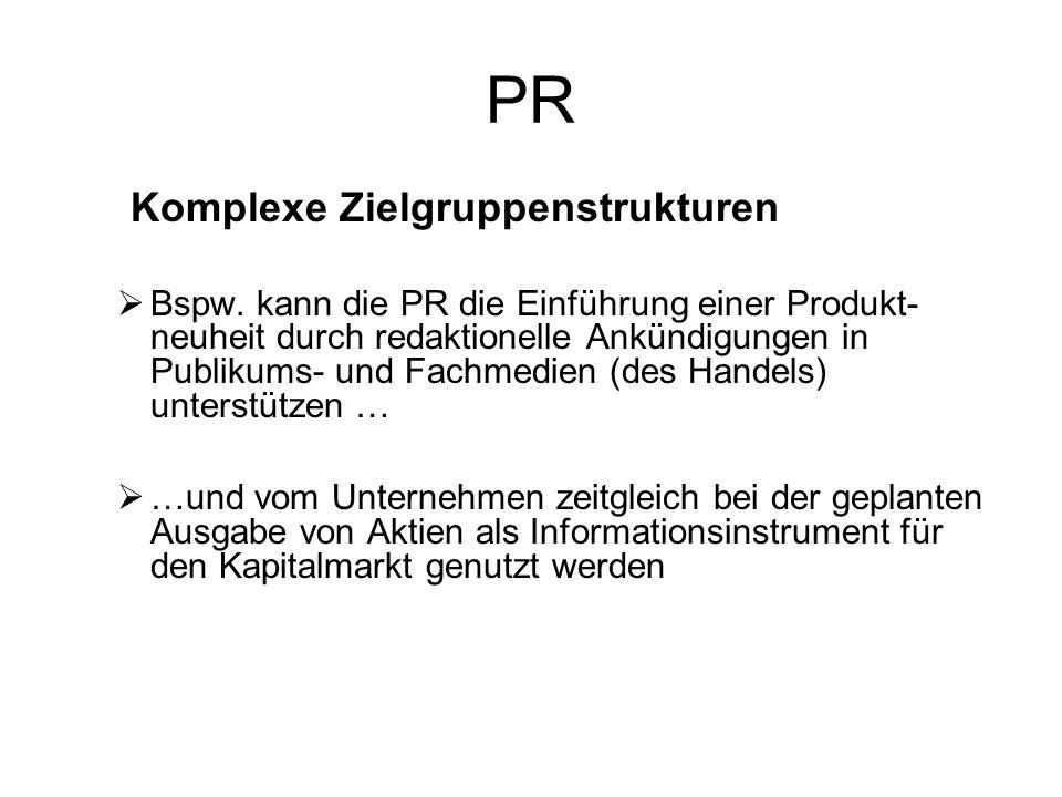 PR Komplexe Zielgruppenstrukturen.