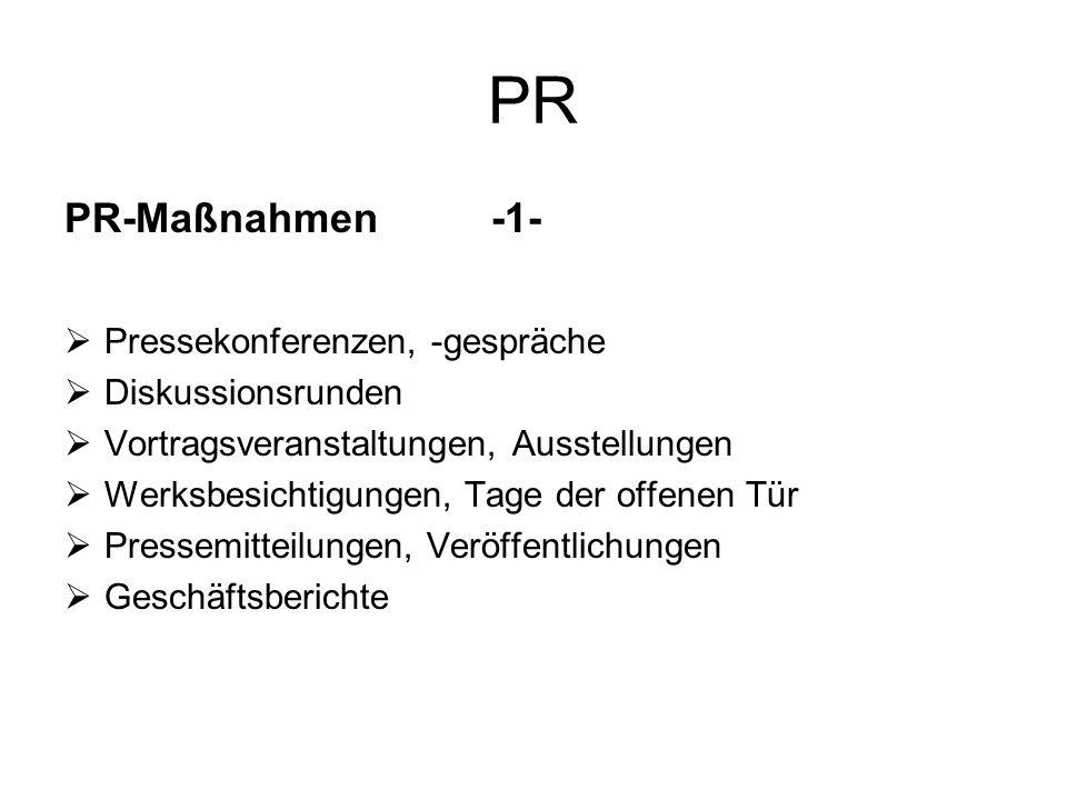 PR PR-Maßnahmen -1- Pressekonferenzen, -gespräche Diskussionsrunden