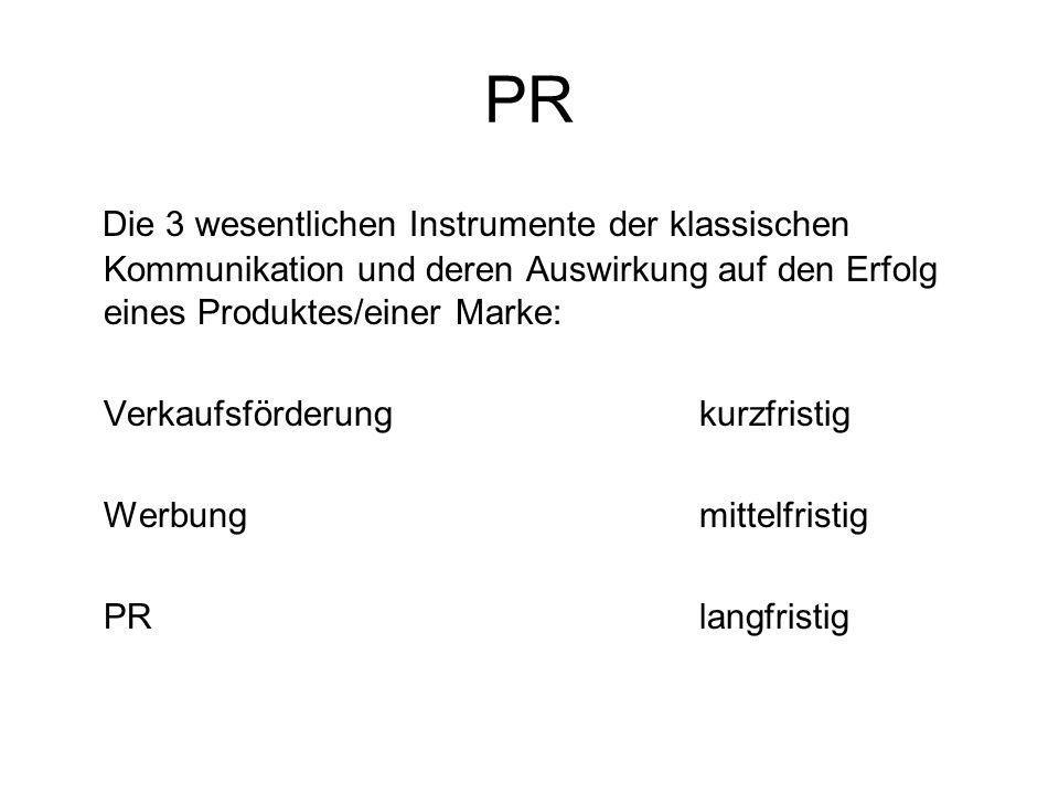 PR Die 3 wesentlichen Instrumente der klassischen Kommunikation und deren Auswirkung auf den Erfolg eines Produktes/einer Marke: