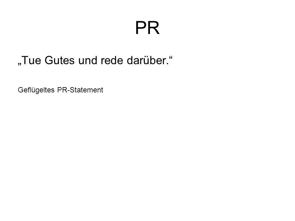 """PR """"Tue Gutes und rede darüber. Geflügeltes PR-Statement"""