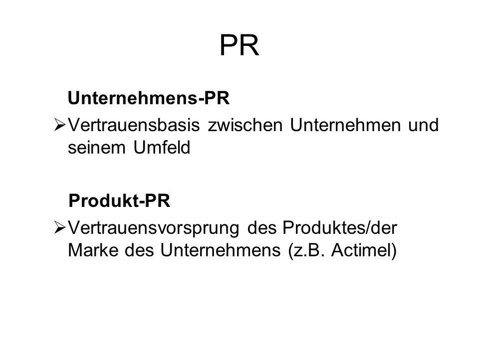 PR Unternehmens-PR. Vertrauensbasis zwischen Unternehmen und seinem Umfeld. Produkt-PR.