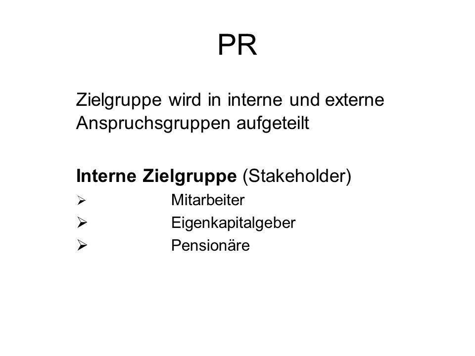 PR Zielgruppe wird in interne und externe Anspruchsgruppen aufgeteilt
