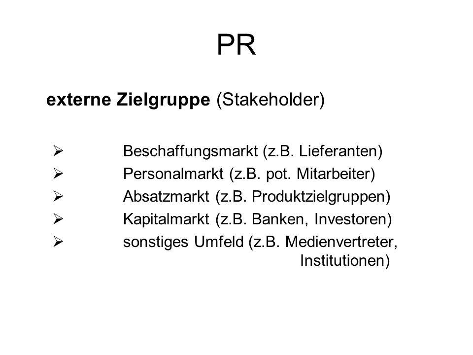 PR externe Zielgruppe (Stakeholder)