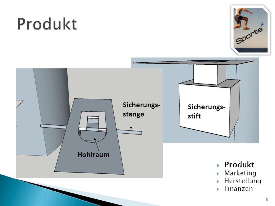 Produkt Sicherungs- stange Sicherungs- stift Hohlraum Produkt