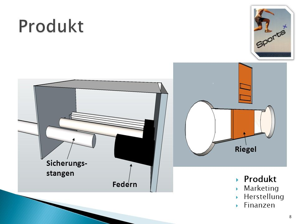 Produkt Riegel Sicherungs- stangen Produkt Federn Marketing