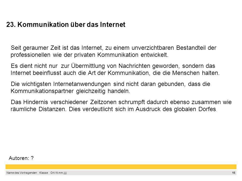 23. Kommunikation über das Internet