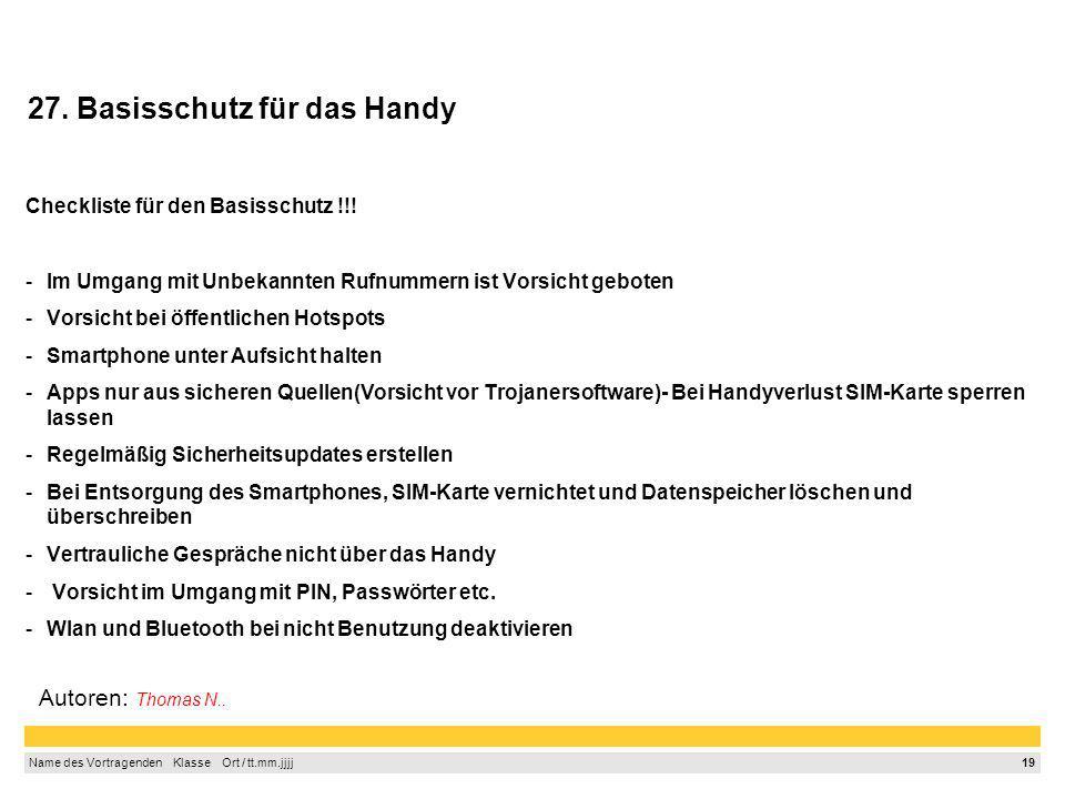27. Basisschutz für das Handy