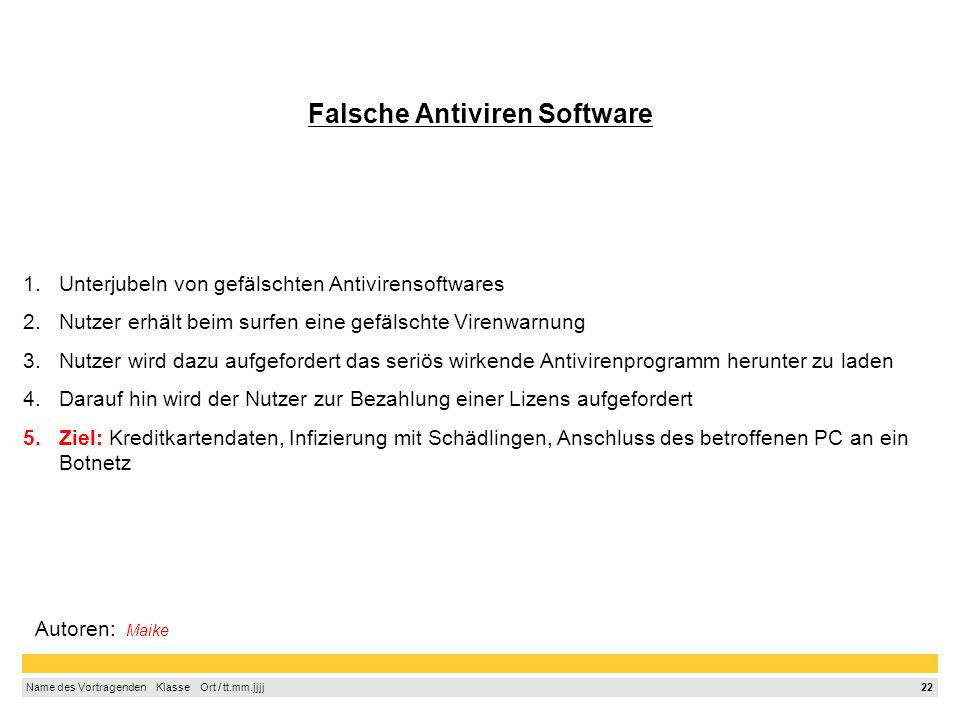 Falsche Antiviren Software