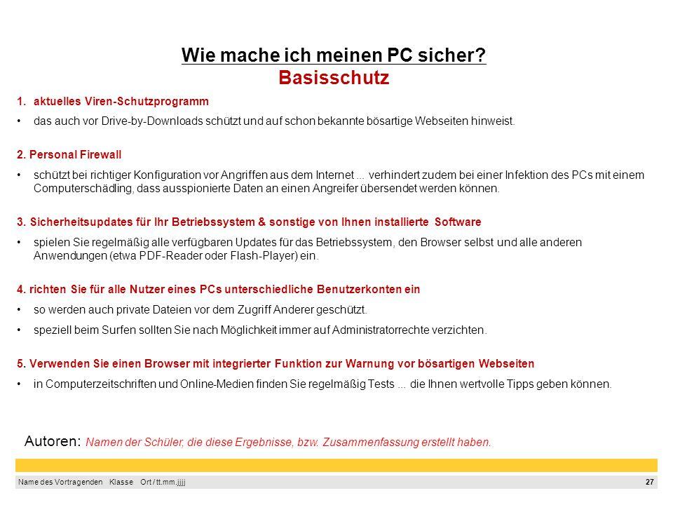 Wie mache ich meinen PC sicher Basisschutz