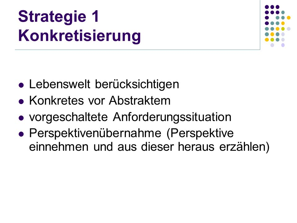 Strategie 1 Konkretisierung
