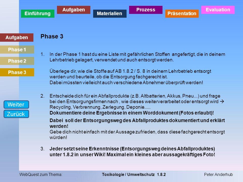Phase 3 Weiter Zurück Aufgaben