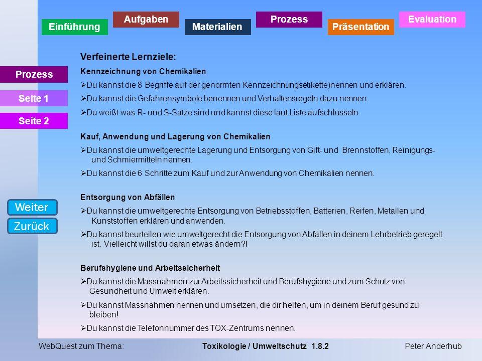 Weiter Zurück Verfeinerte Lernziele: Prozess Seite 1 Seite 2